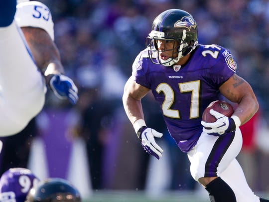 Ray Rice heads upfield during this first quarter play in 2011.