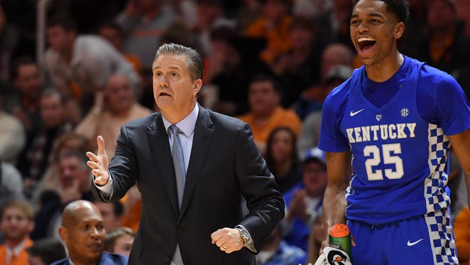 Jan 6, 2018; Knoxville, TN, USA; Kentucky Wildcats head coach John Calipari and forward PJ Washington (25) during the first half against the Tennessee Volunteers at Thompson-Boling Arena. Mandatory Credit: Randy Sartin-USA TODAY Sports