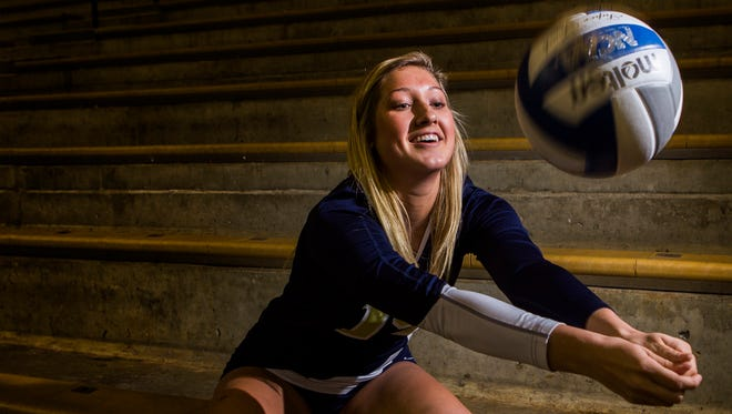 Delaware Military Academy volleyball player Cassie Kowalski poses for a portrait at the Bob Carpenter Center in Newark on Wednesday evening. Kowalski and DMA volleyball team won the school's first state title at the Bob Carpenter Center on Monday night in their 3-1 victory over Archmere Academy.