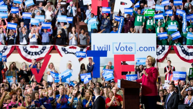 Democratic presidential candidate Hillary Clinton speaks at a campaign rally at the Zembo Shrine in Harrisburg, Pa. Tuesday, Oct. 4, 2016.