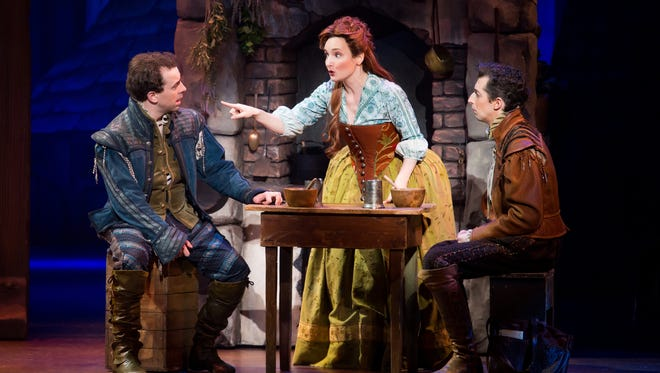 """Rob McClure, left, Maggie Lakis and Josh Grisetti in """"Something Rotten!"""""""