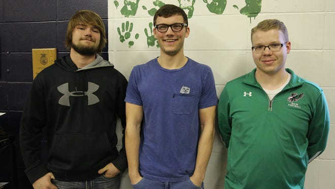 "Southeast Warren students Bryson Ball and Brandon Thomas and agriculture teacher Alex Rodgers are raising money for Please Pass the Love during ""Mustache March."""