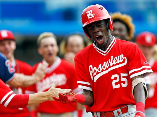 Rossview's Elijah Pleasants reacts after hitting a home run during a 2018 TSSAA State Championships Class AAA baseball game against Brentwood Friday, May 25, 2018 in Murfreesboro, Tenn. (Photo by Wade Payne, Special to the Tennessean)