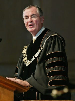 Dr. Nathan O. Hatch speaks during his Installation Ceremony as the 13th President of Wake Forest University at Wait Chapel, on the campus of Wake Forest University in Winston Salem, N.C.