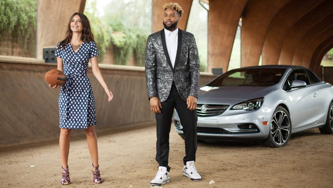 Odell Beckham, Jr, Emily Ratajkowski, and the new Cascada convertible on the set of Buick's first Super Bowl commercial
