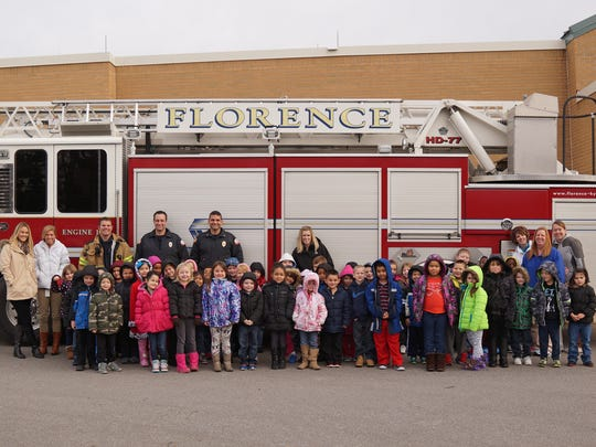 Engine 102 rolled into Florence Elementary to help