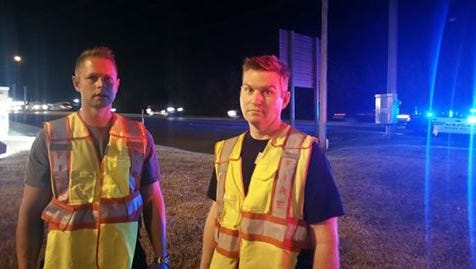 Spring Hill Fire Department engineer Kyle Watson, right.