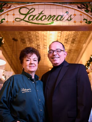 Joe Latona and his mother Joanne at Latona's, the food and tableware shop they own in Garfield