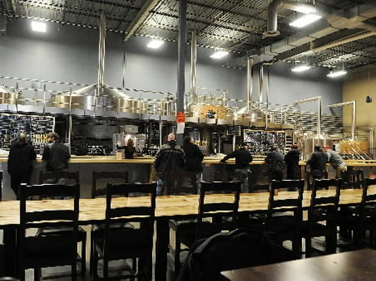 A view of the tasting room at Troegs Brewery in Hershey.