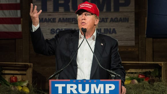GOP presidential candidate Donald Trump speaks to the