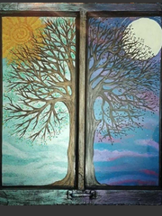 An imaginative day/night motif is chosen by artist Veronica Shmauz to paint on this discarded window. The handle for raising and lowering the window can be seen at the bottom of the painting.