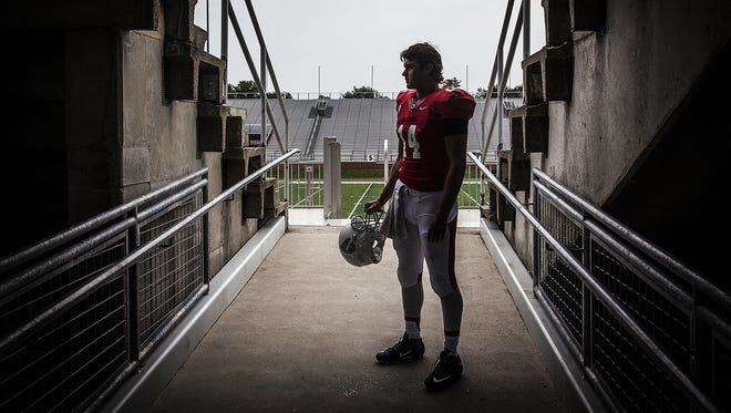 Ball State quarterback Jack Milas poses for a photo at Scheumann Stadium.