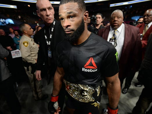 Tyron Woodley leaves the octagon after defeating Stephen
