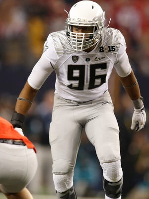 Jan 12, 2015; Arlington, TX, USA; Oregon Ducks linebacker Christian French (96) in game action against the Ohio State Buckeyes in the 2015 CFP National Championship Game at AT&T Stadium. Ohio State won 42-20. Mandatory Credit: Tim Heitman-USA TODAY Sports