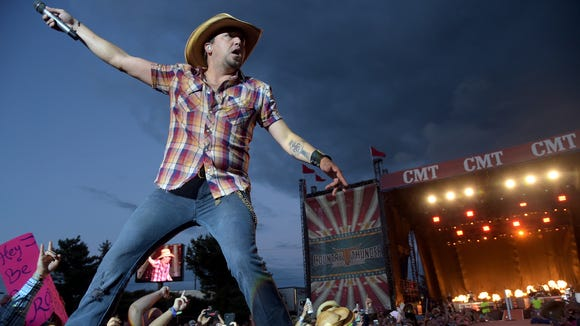 Jason Aldean headlines Country Thunder USA on July 27, 2014 in Twin Lakes, Wisconsin. He will co-headline the three-day Delaware Junction country music festival in Harrington in August.