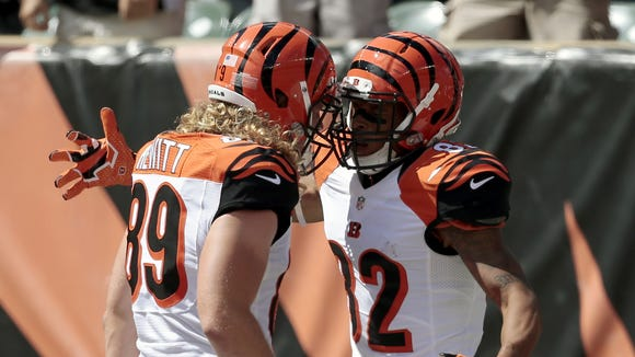Bengals tight end Ryan Hewitt (left) and Marvin Jones celebrate Jones' touchdown during the second quarter of Sunday's game.