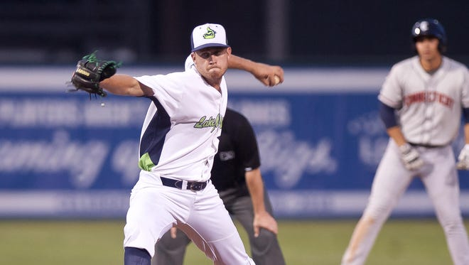 Vermont Lake Monsters relief pitcher Josh Reagan fires to the plate in the fifth inning against the Connecticut Tigers on Wednesday night at Centennial Field.