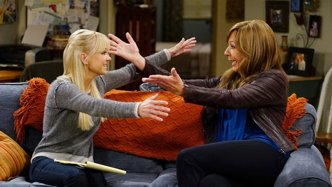 """Anna Faris, left, and Allison Janney played the mother-daughter duo at the center of CBS comedy """"Mom"""" until Faris left after Season 7 in 2020. """"Mom"""" will come to an end after eight seasons in May."""