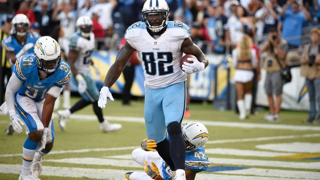 Tennessee Titans tight end Delanie Walker reacts after scoring a touchdown during the second half of an NFL football game against the San Diego Chargers Sunday, Nov. 6, 2016, in San Diego.