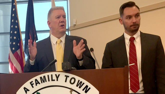 Eastpointe City Manager Steve Duchane, left, and Mayor Pro Tem Michael Klinefelt discuss the proposed redistricting for city council elections from federal authorities at a news conference Dec. 15, 2016 at Eastpointe City Hall.