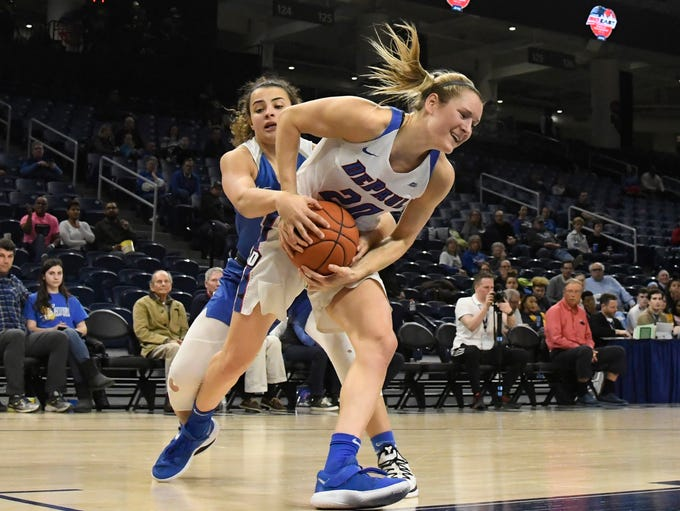 Creighton Bluejays guard Rachael Saunders, left, and