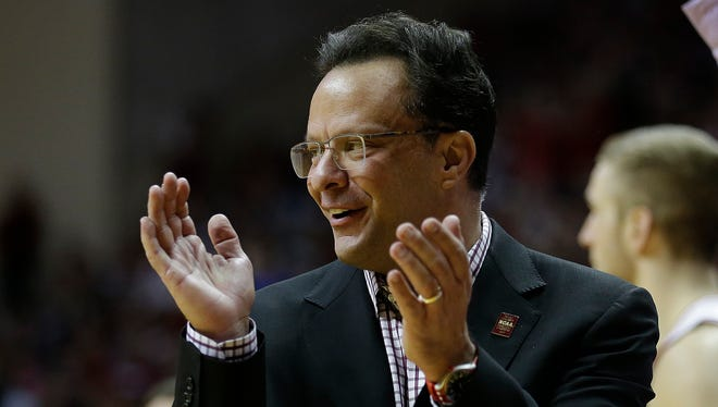 Indiana Hoosiers head coach Tom Crean likes what he saw in his players in the second half of their B1G men's basketball game Sunday, Mar 6, 2016, afternoon at Assembly Hall in Bloomington. The Indiana Hoosiers defeated the Maryland Terrapins 80-62.