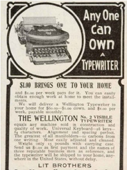 Old advertisement for a Wellington No. 2 Typewriter.