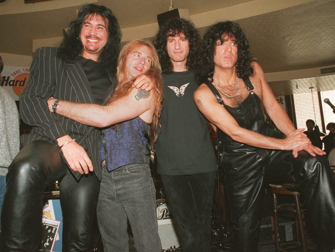 Kiss released its own history book, 'Kisstory,' in March 1995. The band's lineup at that time (from left): Gene Simmons, Eric Singer, Bruce Kulick and Paul Stanley.