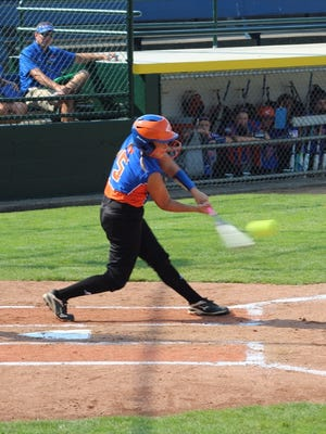 Brooklynn Nolot bats during Floyds Knobs' opening 10-0 win at the Little League Softball World Series in Portland, Oregon.