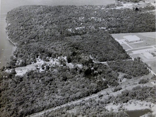 Undated aerial photo of Queen City Park in South Burlington from the Queen City Park Association Records, 1880 – 1951. At one time the property was used for Spiritualist summer camp meetings.