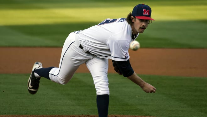 Starting pitcher Chad Smith throws against South Carolina last Friday. Ole Miss enters its weekend series against Mississippi State with a starting rotation that's struggled to provide many innings.