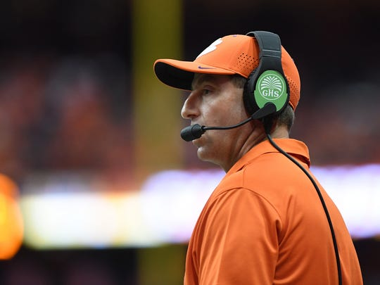 Clemson head coach Dabo Swinney during the 1st quarter on Friday, Oct. 13, 2017 at the Carrier Dome in Syracuse, N.Y.