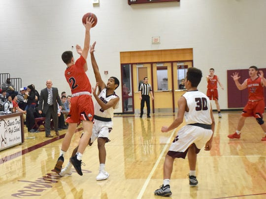 Stuarts Draft's Colin Williams tries to stop a jump