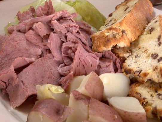A Plate Of Corned Beef And Cabbage Prepared At Farrell S