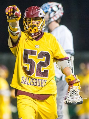 Salisbury attack Brady Dashiell (52) celebrates a goal against Stevenson on Wednesday, March 8 at Mustang Stadium in Owings Mills.