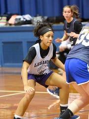 Jasmine Turner works on her defense during a recent