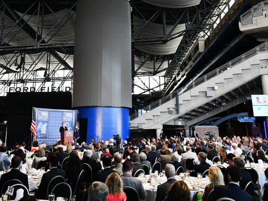 U.S. Secretary of State Mike Pompeo speaks to a packed house at the Detroit Economic Club at Ford Field Monday.