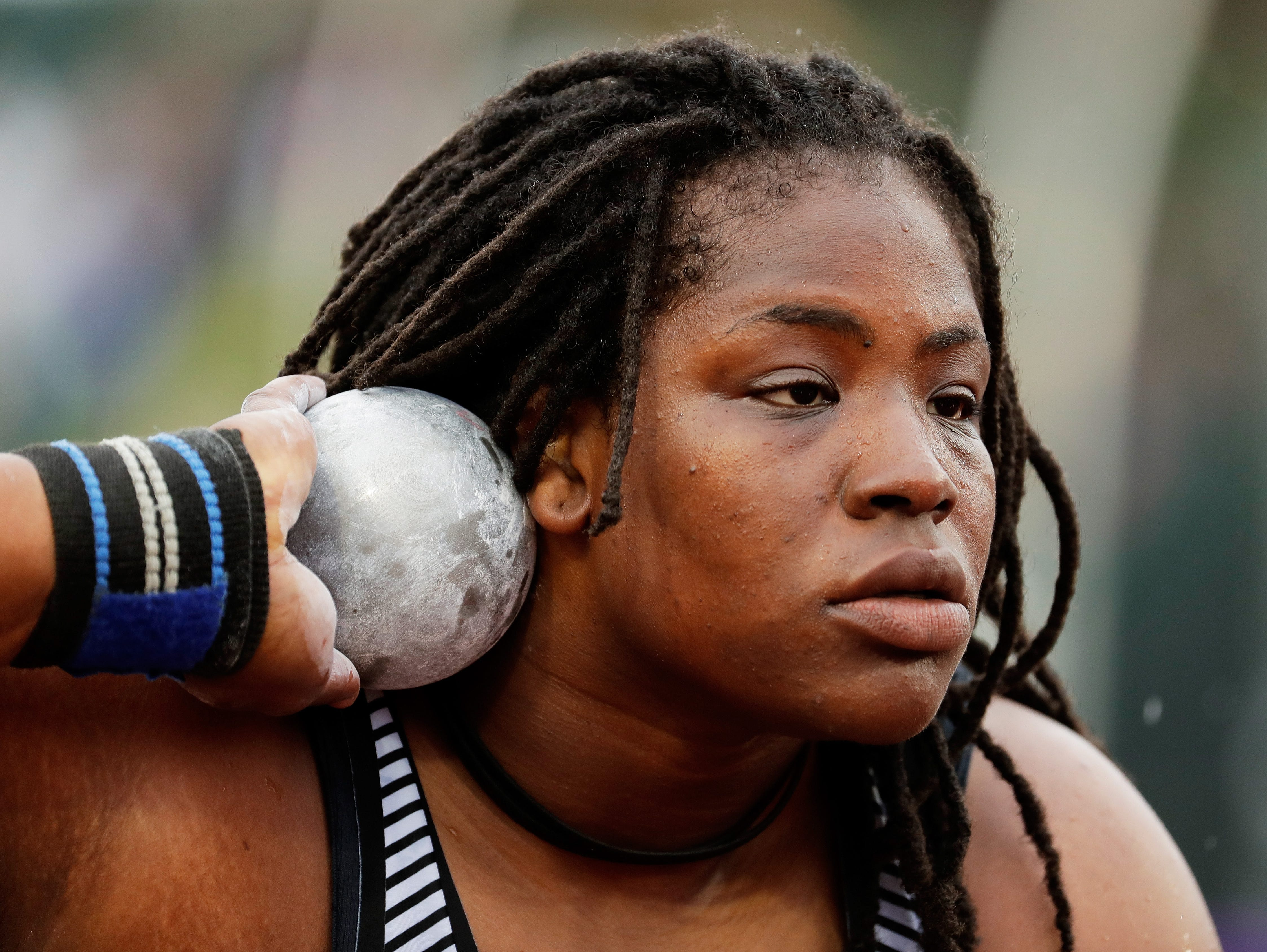 Felisha Johnson competes in the Women's Shot Put Final during the 2016 U.S. Olympic Track & Field Team Trials at Hayward Field on July 7, 2016 in Eugene, Oregon.