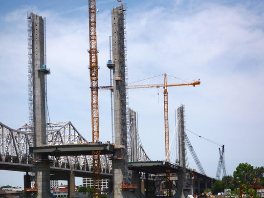 Three towers have been completed in the new bridge adjacent to the Kennedy Bridge.