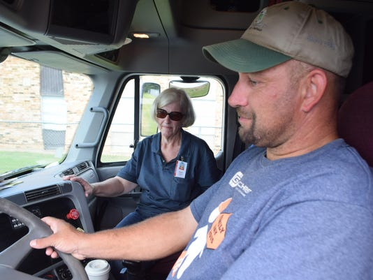 ANI CLTCC Trucker Scotty Stelly (right), a worker with Gilchrist Construction Company, is taking lessons on driving an 18-wheeler from commercial driver's license instructor Jennie Cruse at Central Louisiana Technical Community College. CLTCC was recently