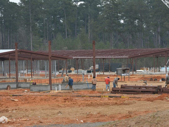 A Town Talk photo from February shows construction continuing on the new building for South Polk Elementary, which will become Parkway Elementary when it opens in August 2016.