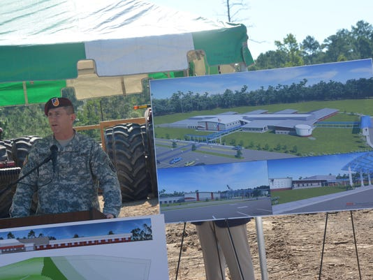 ANI South Polk Elementary JRTC and Fort Polk commanding general Brig. Gen. William Hickman speaks at the site where the new building for South Polk Elementary School will be built. Thursday, Aug. 14, 2014.-Melinda Martinez/mmartinez@thetowntalk.com