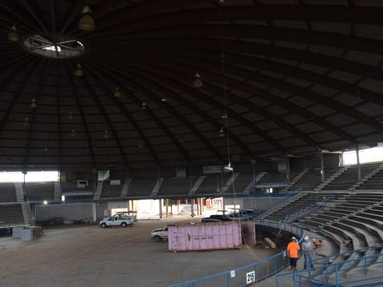 Work continues on the inside of the Rapides Parish Coliseum as part of the renovation project.