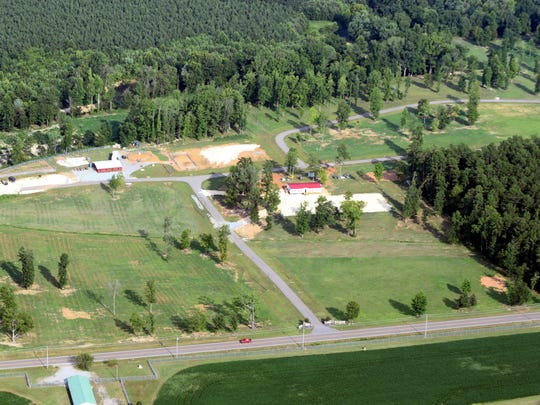 An aerial view of Sheltering Tree Ranch