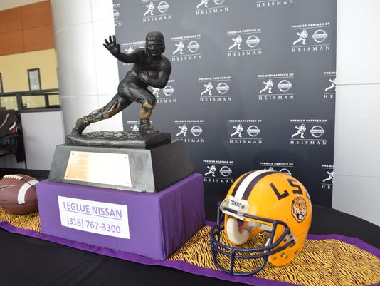 The Heisman Trophy is on display at LeGlue Nissan on Coliseum Blvd in Alexandria. The trophy will be on display until Thursday-Melinda Martinez/The Town Talk