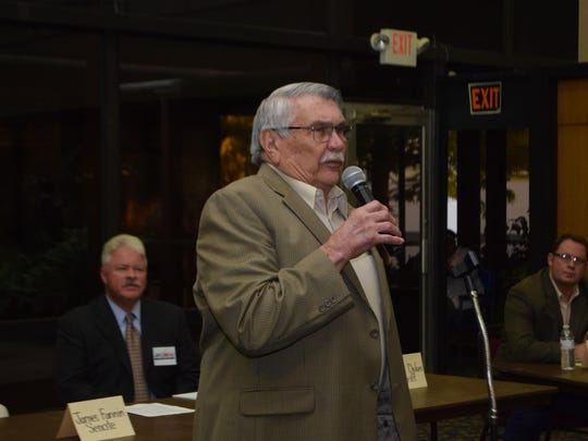 Richard Vanderlick, who is seeking re-election to his Rapides Parish Police Jury District E seat, talks at a candidate forum Thursday.