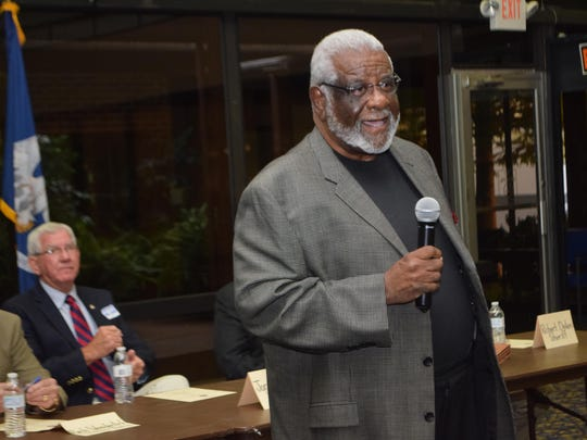 Theodore Fountaine Jr., a candidate for re-election in Rapides Parish Police Jury District D, speaks at a candidate forum Thursday in Pineville.