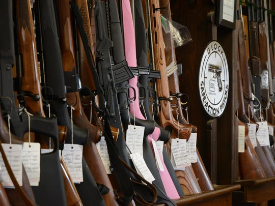 Guns for sale at Desert Hot Springs' Condor Gun Shop, open in the area since 1971.