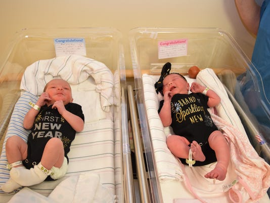 Jude Joseph Flook (left), son of Dane and Katie Flook, was born on Dec. 31, 2015 at 6:58 a.m. at Christus St. Frances Cabrini Hospital in Alexandria. HIs cousin Steviee Rose Patin, daughter of David and Rachel Patin, was born at Cabrini at 11:47 a.m. also