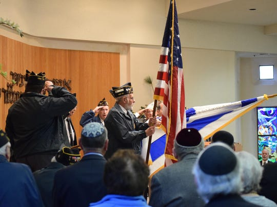 The Jewish War Veterans Garr-Greenstein-Friedenberg Post 39 Margate posted the colors during the Yom HaShoah Memorial Service that was presented by the Sara and Sam Schoffer Holocaust Resource Center at Stockton University at Beth Judah Congregation in Ventnor.
